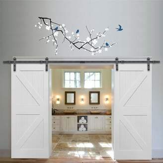 URBAN RESEARCH Verona Home Design Greensboro Double Stile and Rail K Planked MDF 4 Panel Interior Barn Door with Hardware