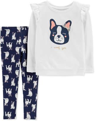 Carter's Toddler Girls 2-Pc. French Bulldog Sweatshirt & Printed Leggings Set