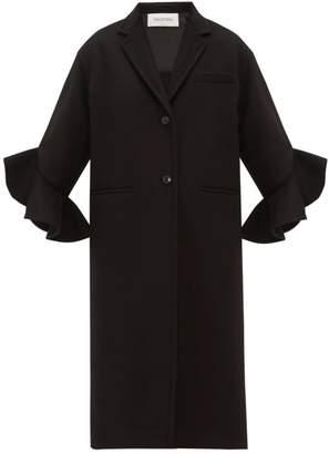Valentino Ruffled Cuff Single Breasted Wool Blend Coat - Womens - Black