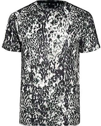 River Island Big and Tall khaki slim animal print T-shirt