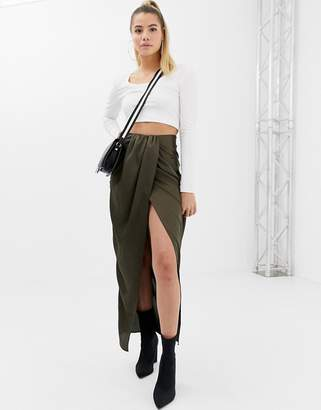 Asos DESIGN twist front maxi skirt in satin