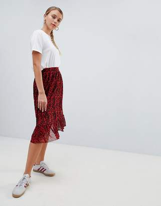 Only Thai printed frill midi skirt