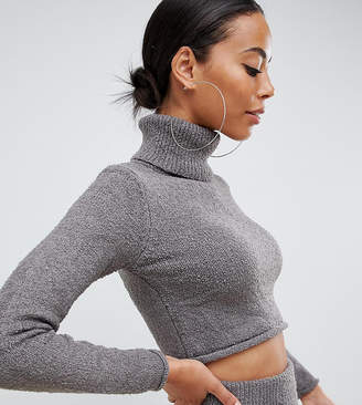 Missguided Tall roll neck jumper co-ord in grey