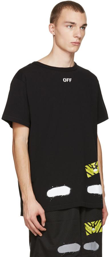 Off-White Black Diagonal Spray T-Shirt 4