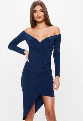 Missguided Navy Cross Over Bardot Asymmetric Hem Bodycon Dress, Blue