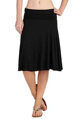 Ami 12 Solid Basic Fold-Over Stretch Midi Short Skirt Extra Large