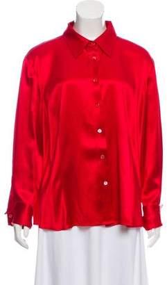 Lafayette 148 Silk Long Sleeve Top