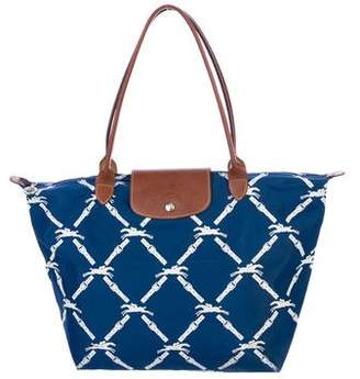 Longchamp Leather-Trimmed Fold-Able Tote