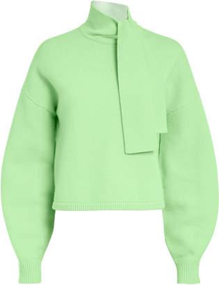 Tibi Tie Neck Green Sweater