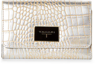 T Tahari Silver Monte Croco Flap Wallet