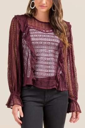 Joy Lace Ruffle Peasant Party Blouse - Purple