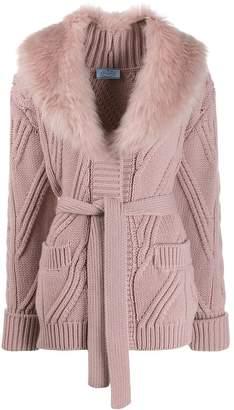 Prada faux fur collar cardigan