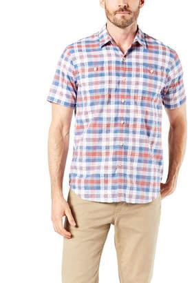 5bf901e8 Dockers Mens Short Sleeve Moisture Wicking Plaid Button-Front Shirt