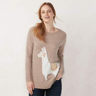 Lauren Conrad Petite Graphic Crewneck Tunic Sweater