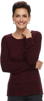Dana Buchman Women's Mixed-Stitch Scoopneck Sweater