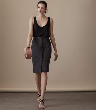 Reiss TAMMI SUEDE SKIRT Charcoal