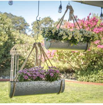 Vip Home & Garden 2-Piece Galvanized Metal Hanging Planters