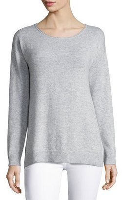 Letarte Cashmere Palm Tree Pullover Sweater, Gray $278 thestylecure.com