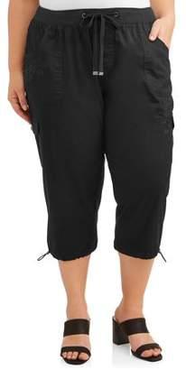 Terra & Sky Women's Plus Size Embroidered Cargo Capri