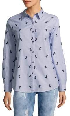 Karl Lagerfeld Paris Cotton Sunglass Button-Front Top