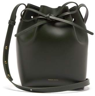 Mansur Gavriel Green Lined Mini Leather Bucket Bag - Womens - Dark Green