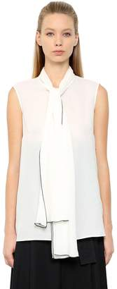 Alexander McQueen Double Silk Georgette Top W/ Bow Collar