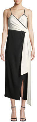Diane von Furstenberg Avila Colorblock V-Neck Wrap Dress