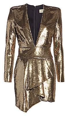 Alexandre Vauthier Women's Micro Sequins Plunge Mini Dress