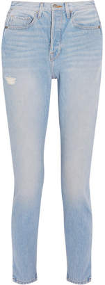 FRAME - Le Original Skinny Distressed High-rise Straight-leg Jeans - Blue $275 thestylecure.com