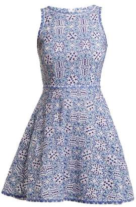 Le Sirenuse Le Sirenuse, Positano - Corinne Kantha Geometric Embroidered Cotton Dress - Womens - Blue Print
