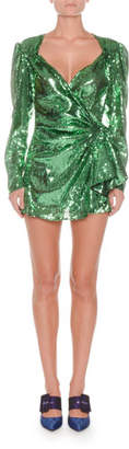 ATTICO Sweetheart-Neck Long-Sleeve Sequin Mini Dress