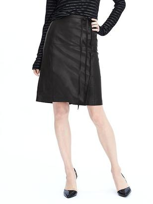 Limited Edition Tie Wrap Leather Skirt $348 thestylecure.com