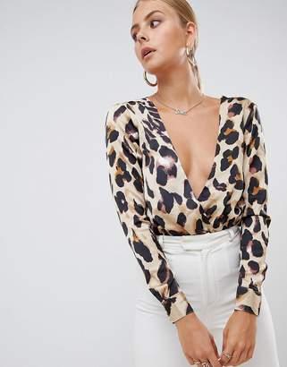 86b076d7fd4 Missguided satin wrap body in leopard print