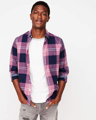 Express Slim Soft Wash Plaid Button-Down Cotton Shirt