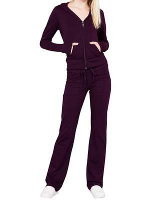 ClothingAve. Women's Lightweight Hoodie & Sweatpants Velour Suit 2 Piece Loungewear Set (S-3XL)