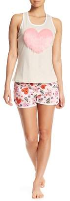 Couture PJ Fuzzy Heart & Printed Shorts PJ Set