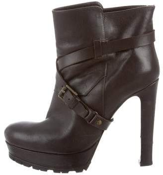 Belstaff Leather Round-Toe Boots