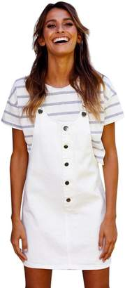 Birdfly Women Vigorous Young Straps Dress Overalls for Women Casual Mini Skirt (S, )