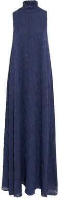Co Metallic Ruffle-Trimmed Fil Coupé Silk-Blend Chiffon Gown