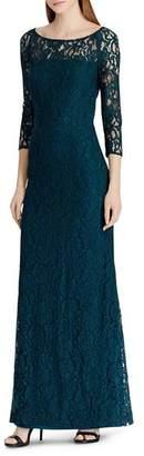 Ralph Lauren Illusion Lace Gown