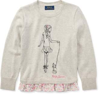 Ralph Lauren Ruffled Cotton Graphic Sweater