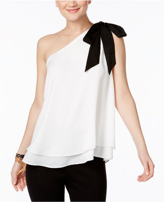 INC International Concepts One-Shoulder Bow Top, Only at Macy's $59.50 thestylecure.com