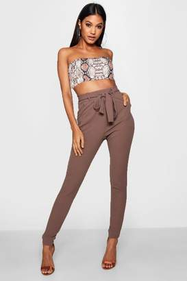 boohoo Maddie Bow Tie Waist Pleat Front Trouser