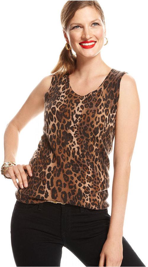 Charter Club Sweater, Sleeveless Animal-Print Cashmere