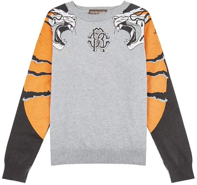 Cotton Roaring Tiger Printed Sweater
