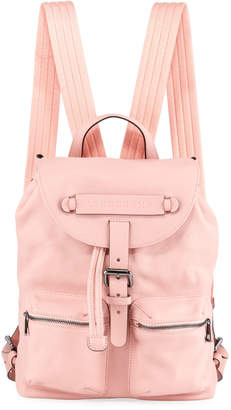 Longchamp 3D Leather Drawstring Flap-Top Backpack