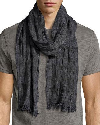 John Varvatos Check Wool-Blend Scarf, Black $80 thestylecure.com