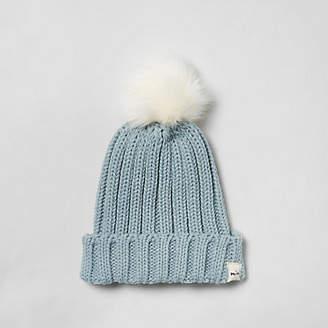River Island Mini boys blue faux fur bobble beanie hat