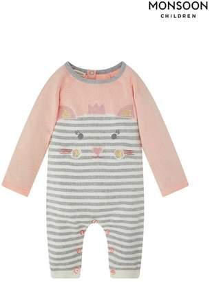 Monsoon Girls Children Pink New Born Baby Anna Knit Sleepsuit - Pink