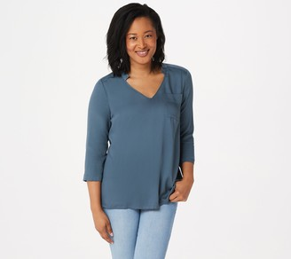 Lisa Rinna Collection Stretch Woven Open-Neck Blouse
